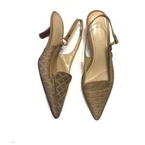 Etienne Aigner Shoes - Etienne Aigner Rhodes Tan Logo Kitten Heel